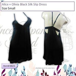 Alice + Olivia Black Silk Slip Dress Size Small